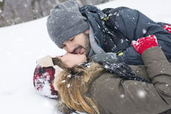 Couple in love outdoors on a winter day Royalty Free Stock Image