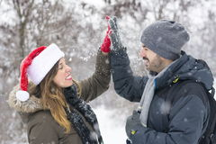 Couple in love outdoors on a winter day Royalty Free Stock Photography