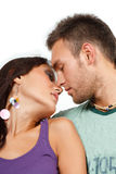 Couple in love over white background Royalty Free Stock Images