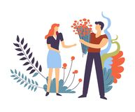 Couple in love, pair of man and woman feeling affection vector illustration