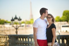 Couple in love in Paris Stock Photos