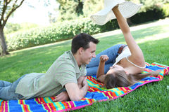 Couple in Love in the Park Stock Photos