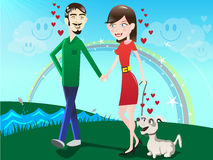 Couple in the Park / illustration. Couple in Love at first sight taking a walk in the park walking their dog Stock Photography