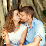 Couple in love  in the park, Valentine's Day.  Royalty Free Stock Image