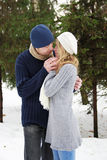 Couple in love in the park in winter Stock Image