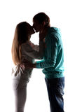Couple in love. In the photo studio on a white Royalty Free Stock Image