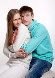 Couple in love. In the photo studio on a white Royalty Free Stock Photos