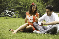 Couple in love on picnic in the park Royalty Free Stock Photography