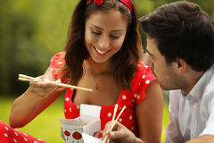 Couple in love on picnic in the park Stock Photography