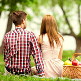 Couple in love at a picnic in the park, Valentine's Day Stock Photo
