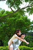 Couple in Love on piggy back stock image