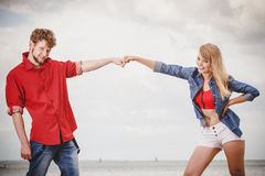 Couple in love playing flirting outdoor Royalty Free Stock Images
