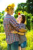 Couple in love playing romantic game Royalty Free Stock Photos