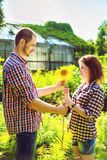 Couple in love playing romantic game Royalty Free Stock Photo