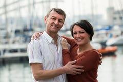 Couple in love posing outdoors Stock Photos