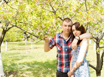 Couple in love posing with the tree Stock Photography