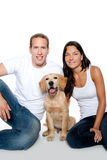 Couple in love puppy dog golden retriever Stock Images