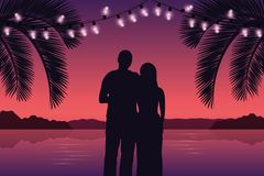 Couple in love on purple paradise palm beach with fairy lights stock illustration