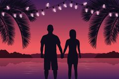 Couple in love on purple paradise palm beach with fairy lights vector illustration