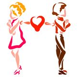 Couple in love quarreled, insult and common heart.  stock illustration