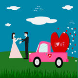 Couple love and red heart on pink car Royalty Free Stock Image