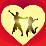 Couple love red heart shape jump valentine day Stock Photography