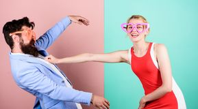 Couple in love. Relations. Happy couple in party glasses. Office stock photos