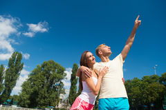 Couple in love relax after workout. Royalty Free Stock Photo