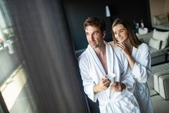 Couple in love relaxing and enjoying wellness weekend stock photography