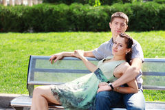 Couple in love relaxing in park Stock Photography