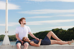 Couple in love relaxing peaceful outdoor Royalty Free Stock Photography