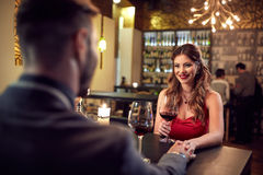 Couple in love in restaurant Stock Photography