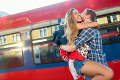 Couple parting for some time. Couple in love reunion after traveler arrives royalty free stock photos