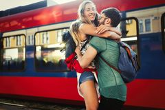 Couple parting for some time. Couple in love  reunion after traveler arrives Stock Photo