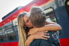 Couple parting for some time. Couple in love reunion after traveler arrives stock photography