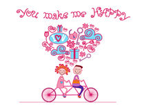 Couple Love Ride Tandem Bicycle Card Happiness Stock Image