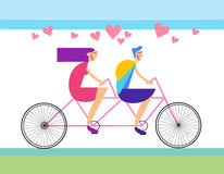 Couple Love Ride Tandem Bicycle Heart Shape Royalty Free Stock Photos