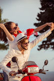 Couple in love riding a motorbike , Handsome guy and young woman travel . Stock Photos
