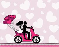 Couple in love riding a motorbike. Silhouettes of a couple in love riding a motorbike on a light background with hearts Royalty Free Stock Photography