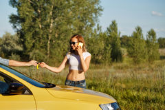 Couple in love. Road Trip stock photography