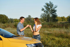 Couple in love. Road Trip royalty free stock photography