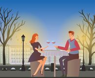 Couple in love, romantic dinner outdoor. Young man and woman on a date  Stock Image