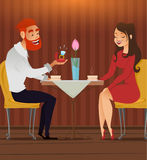 Couple in love, romantic evening in restaurant or cafe, young man presents ring with big diamond to his beloved beautiful woman. D Royalty Free Stock Images