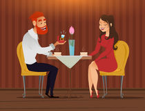Couple in love, romantic evening in restaurant or cafe, young man presents ring with big diamond to his beloved. Long shot. Date. Royalty Free Stock Photography