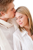 Couple in love - romantic kiss Royalty Free Stock Photos