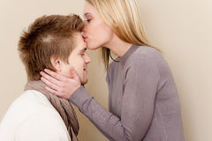 Couple in love - romantic kiss Stock Photos