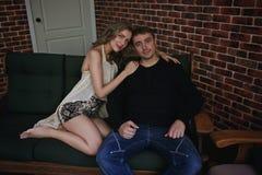 Couple love romantic room Stock Photos