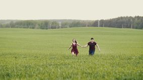 A couple in love running through a wheat field, holding hands, smiling, slow mo, steadicam shot stock footage