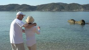 Couple in love on the sandy beach stock video footage