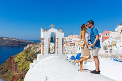 Couple in love on Santorini royalty free stock photography
